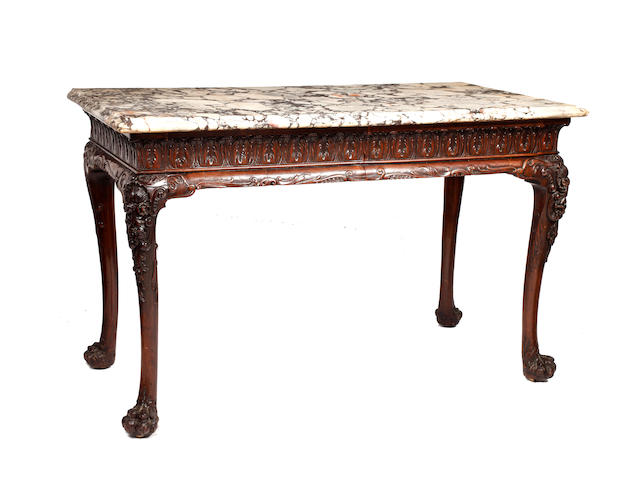 A George III Irish mahogany console table with variegated marble top