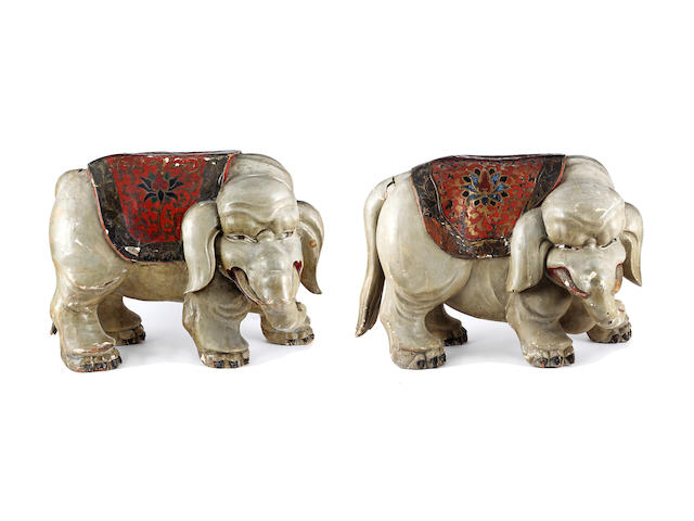 Two almost identical Asian carved wood and painted seats Probably Chinese, late 19th/early 20th Century
