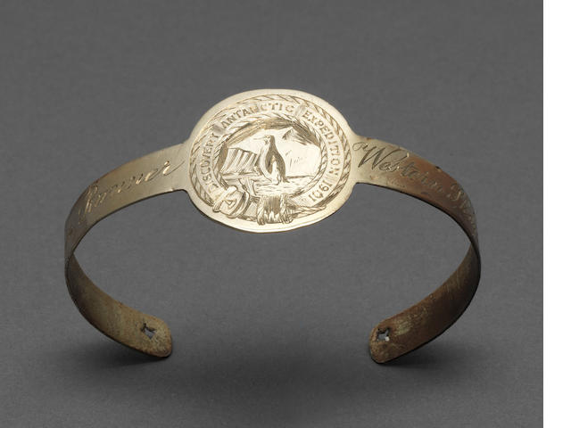 SLEDGE RUNNER An engraved German silver portion of sledge runner from a sledge used on the Western Journey of Scott's Discovery expedition, fashioned into a torc bracelet, [c.1904]
