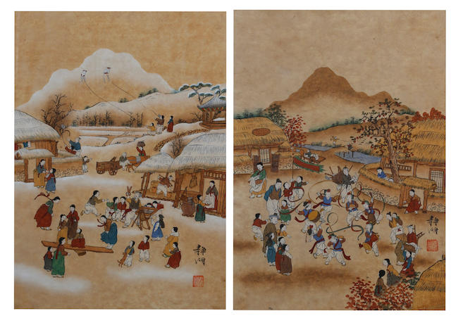 A pair of South East Asian paintings Probably Korean, 20th Century