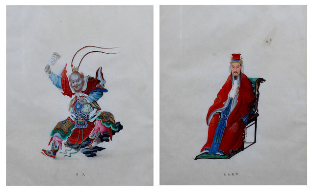 Chinese School, early 19th century Ink and colour on paper, the first depicting Sakaki-oni carrying out a ritual performance, the second a seated dignitary dressed in ceremonial attire, mounted in later giltwood frames;