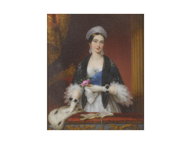 Sophie Liénard (French, active 1842-1845) Queen Victoria (1819-1901), Queen of Great Britain and Ireland (1837-1901), standing in the Royal Box at the Drury Lane Theatre, wearing white dress, three-quarter length sleeves trimmed with two tiers of white lace, white rosette to her corsage set with a diamond pendant jewel, blue sash of the Order of the Garter, black lace shawl, diamond pendent earrings and diamond tiara, the ruched trim of her white gloves decorated with black rosettes, the Queen holds a white handkerchief and nosegay of pink roses in her left hand and rests her right hand on the ermine stole draped over the ledge of her box, on which sits a programme held open by an ivory fan, the gilt-wood and red upholstered chair behind the Queen bearing her monogram VR