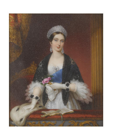 Sophie Liénard (French, active 1842-1845) Queen Victoria (1819-1901), Queen of Great Britain and Ireland (1837-1901), standing in the Royal Box at the Drury Lane Theatre, wearing white dress, three-quarter-length sleeves trimmed with two tiers of white lace, white rosette to her corsage set with a diamond pendant jewel, blue sash of the Order of the Garter, black lace shawl, diamond pendent earrings and diamond tiara, the ruched trim of her white gloves decorated with black rosettes,  a nosegay of pink roses held in a gold bouquet-holder (a gift from the Marquess of Coyngham) in her left hand, her right hand resting on the ermine stole draped over the ledge of her box, on which sits a programme held open by an ivory fan, the gilt-wood and red upholstered chair behind the Queen bearing her monogram VR