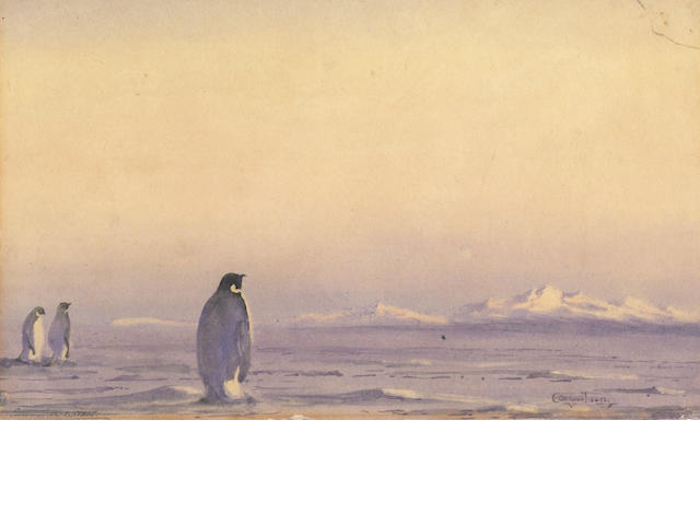 WILSON (EDWARD ADRIAN)  An Antarctic vista with Emperor penguins in the foreground, [c.1911]