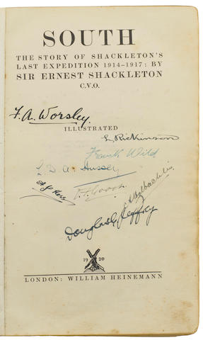 SHACKLETON (ERNEST H.) South. The Story of Shackleton's Last Expedition 1914-17, fourth impression, AUTHOR'S PRESENTATION COPY, SIGNATURES OF SEVERAL QUEST MEMBERS, 1920; and 4 photos, one signed by Shackleton