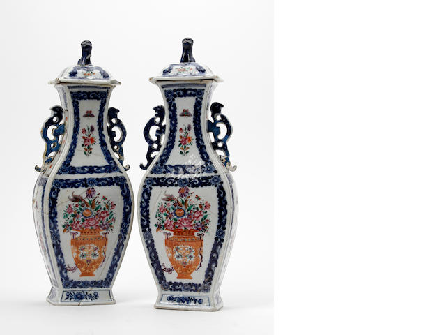 A pair of Chinese export famille rose porcelain vases and covers  Circa 1785