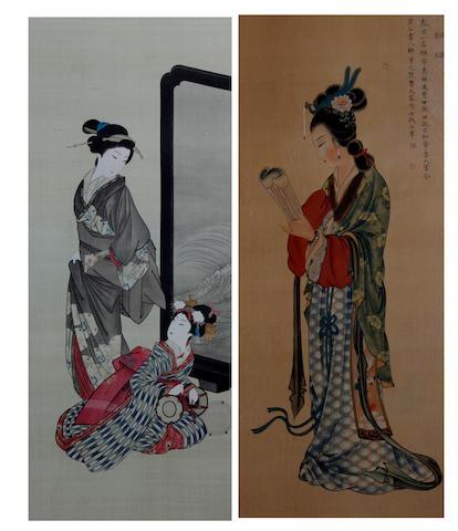 A pair of Japanese paintings on silk Taisho/Showa Period