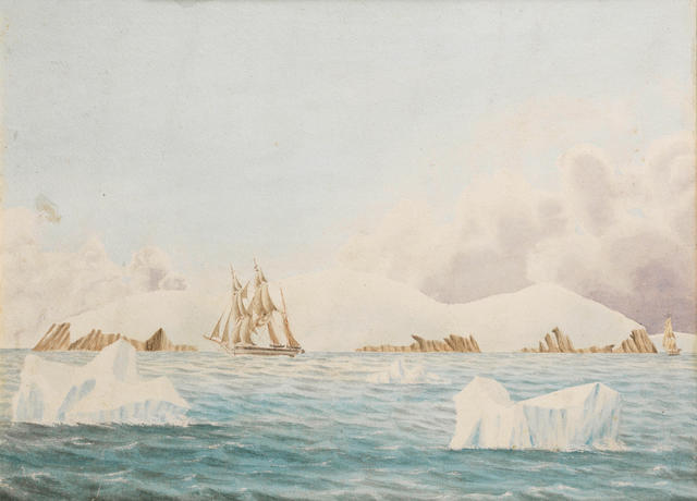 DAVIS (JOHN EDWARD) 'Coulman Island' showing Erebus and Terror, watercolour, 1843