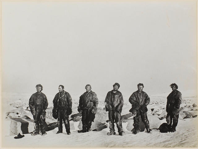 NORTHERN PARTY The celebrated group photograph taken by Dr. Murray Levick of the Northern Party outside the ice cave in which they has survived the Antarctic winter