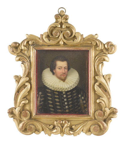 Henry Bone, R.A. (British, 1755-1834) William Russell, 1st Baron Russell of Thornhaugh (c.1558-1613), wearing black doublet slashed to reveal embroidered white chemise, clustered pearl buttons, white ruff