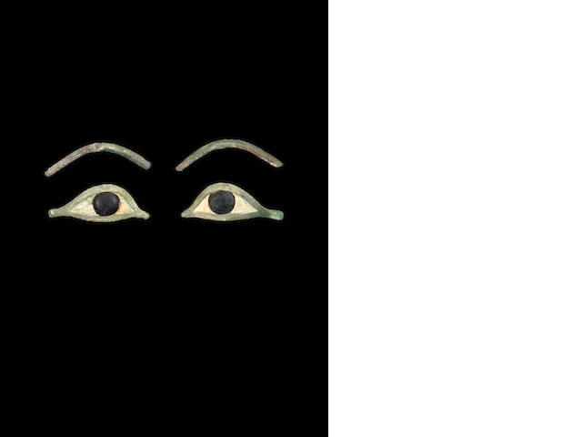 A pair of Egyptian bronze eyes and eyebrows (4)