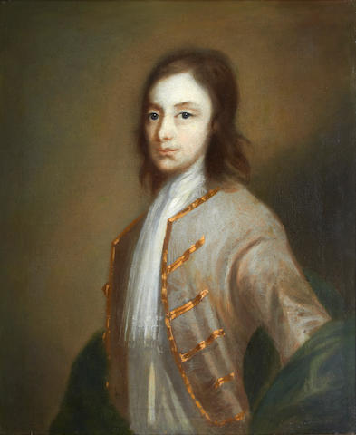 Circle of George Beare (British, 1743-1749) Portrait of a young man, half length, in a grey coat with gold trim