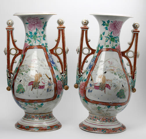 A pair of Chinese famille rose 'Islamic' form  vases Late 19th Century