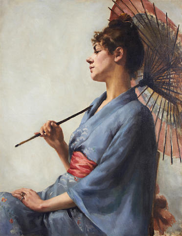 Circle of Sir Gerald Festus Kelly (British, 1879-1972) Portrait of a woman in a kimono holding a parasol