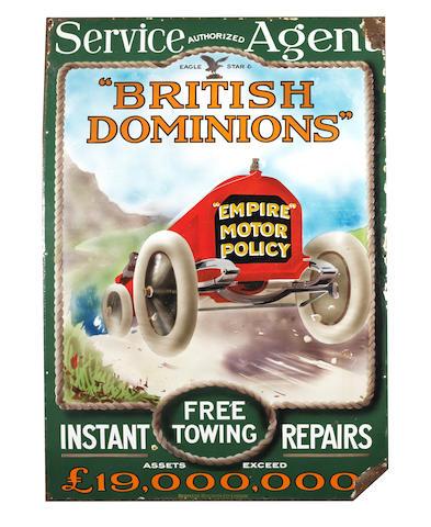 A British Dominions 'Empire Motor Policy' enamel advertising sign, circa 1910,