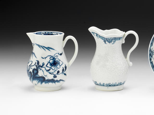 Two Worcester cream jugs, circa 1760-70