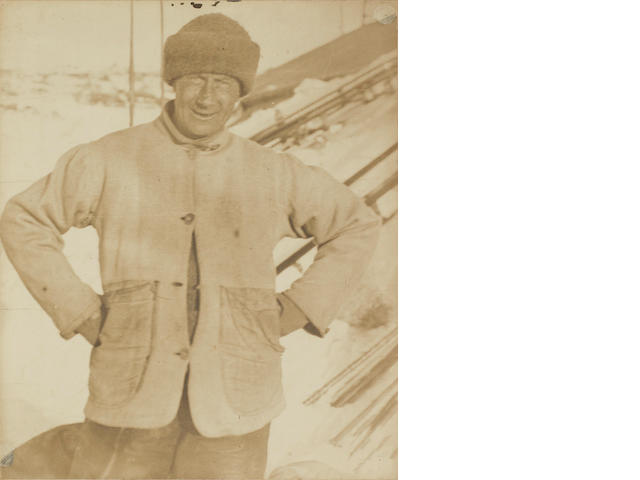 WILSON (EDWARD A.) Portrait of Edward A. Wilson, standing half-length, in Antarctica, [1911]; and a christmas card signed by Hooper (2)