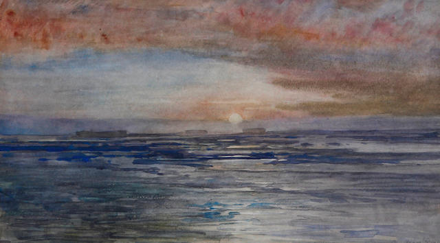 MARSTON (GEORGE E.) 'Sunset Elephant Island - from the lookout point Sunset and no relief in sight'