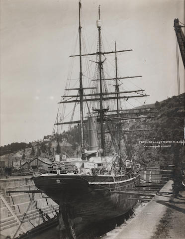 TERRA NOVA HILLSDON (W.)  A view of the Terra Nova in a drydock in Lyttelton, New Zealand, 1910