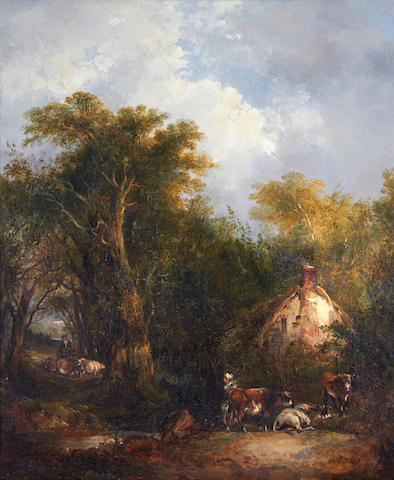 Richard Hilder (British 1813-1852) Figures by a country cottage
