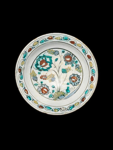 A Safavid Kubachi underglaze painted pottery Dish Persia, 17th Century