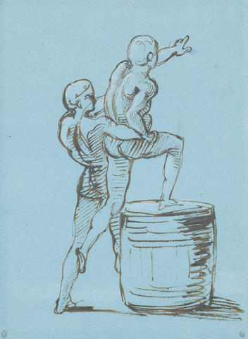 Théodore Géricault (Rouen 1791-1824 Paris) A study for the principal group of the Raft of the Medusa (a male figure assisting another on to a barrel to make a signal to the Argus)