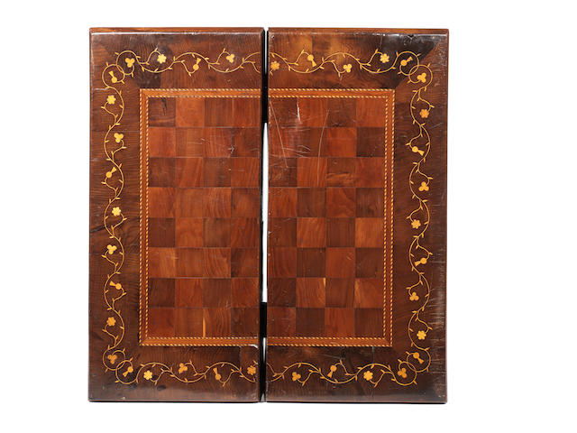 An Irish arbutus wood games board/box, Killarney, circa 1845-1880,