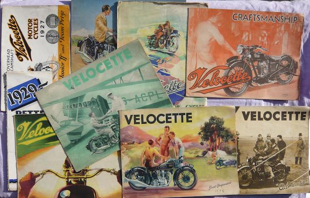 Nine pre-War Velocette sales brochures,