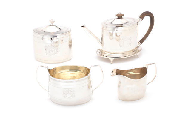 A George III/IV matched five-piece silver tea service by Charles Aldridge, London 1791, the sugar and cream, by William Bateman, London 1821  (5)