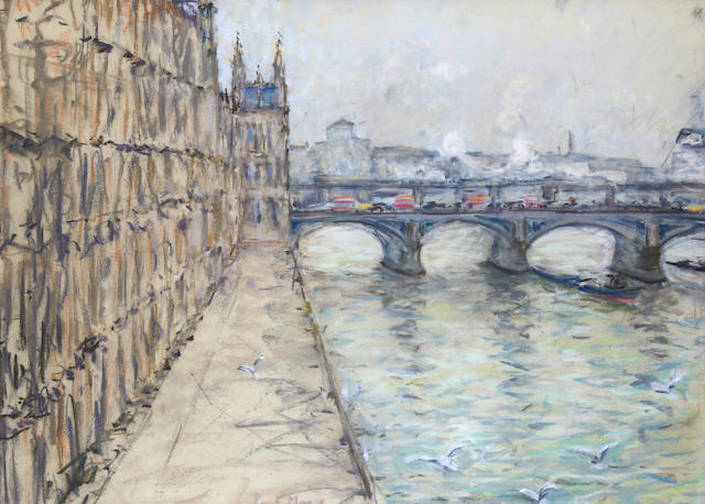 Paul Lucien Maze (French, 1887-1979) Houses of Parliament and Westminster bridge