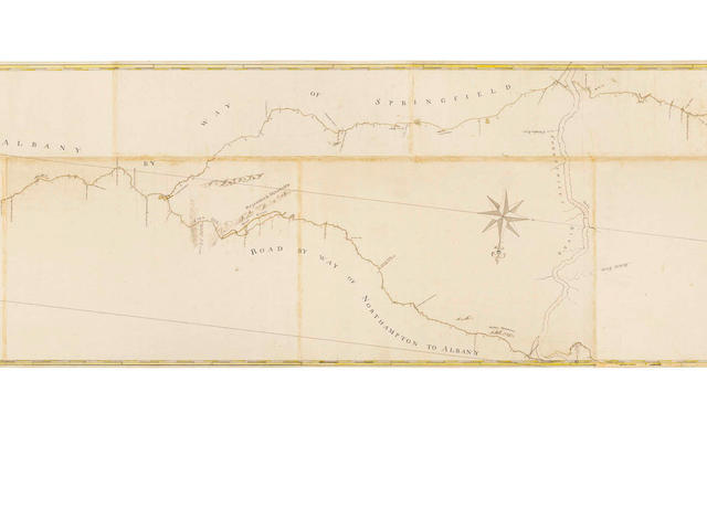 COLONIAL MASSACHUSETTS [MILLER (FRANCIS] A very large untitled map of the road west towards Albany, from Boston extending to Great Barrington by way of Springfield