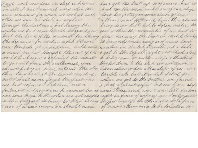 WELLER (WILLIAM ISAAC, Able Seaman) Long autograph letter signed, 8 June 1903