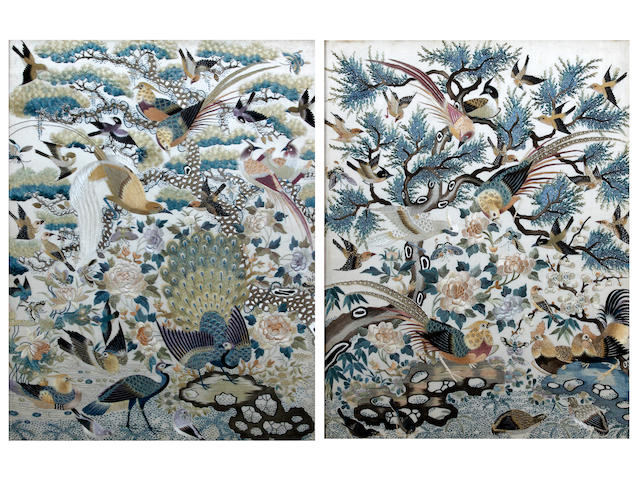 A pair of Chinese embroidered silkwork pictures Late 19th Century