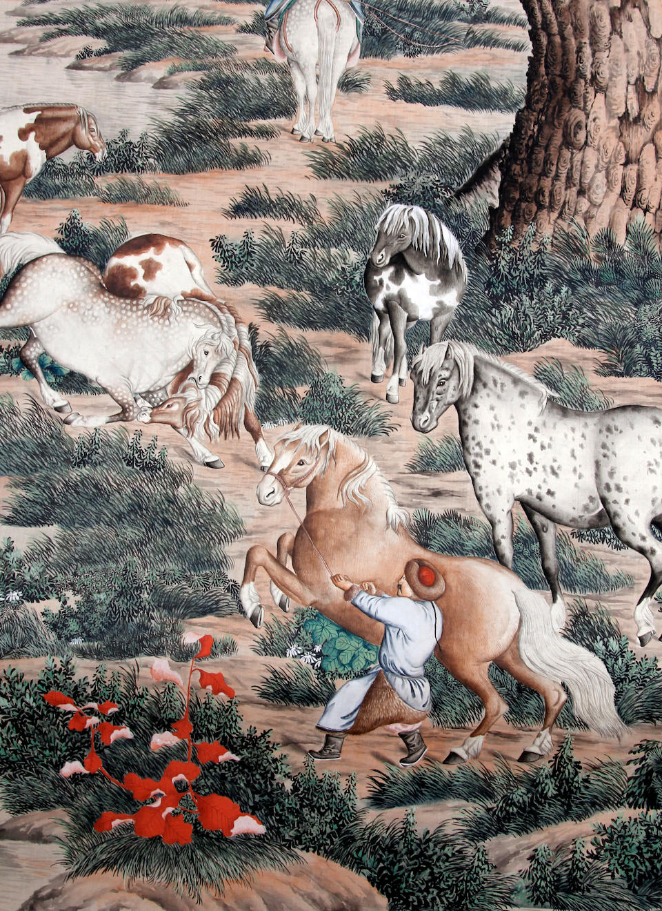 A Chinese hanging scroll, horses and grooms, after Jiao Bingzhen (1606-1687)
