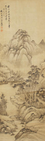 A Chinese hanging scroll, river landscape, attributed to Dai Xi (1801-1860)