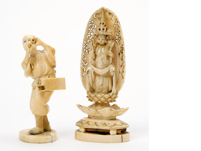 Two Japanese Ivory carvings  Meiji Period