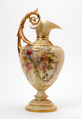 A Royal Worcester blush ivory ewer, painted by William Hale Dated 1908