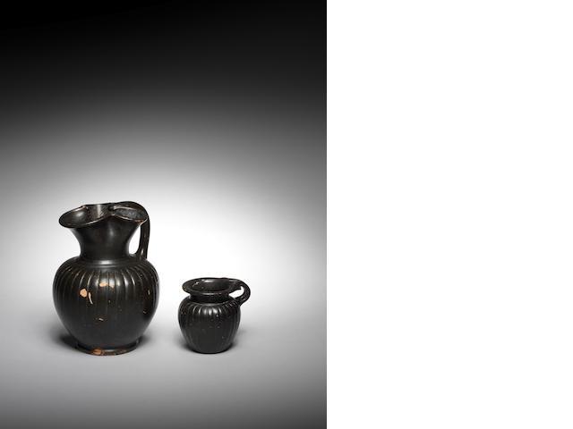 Two Etruscan bucchero vessels