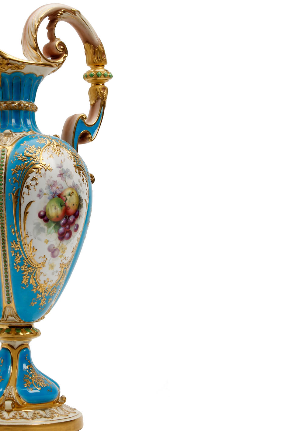 An impressive Royal Worcester fruit painted ewer, painted by William Hawkins Dated 1898