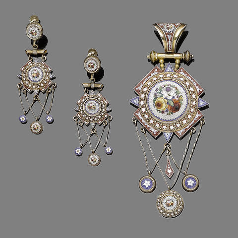 A micromosaic pendant and earring suite, (2)