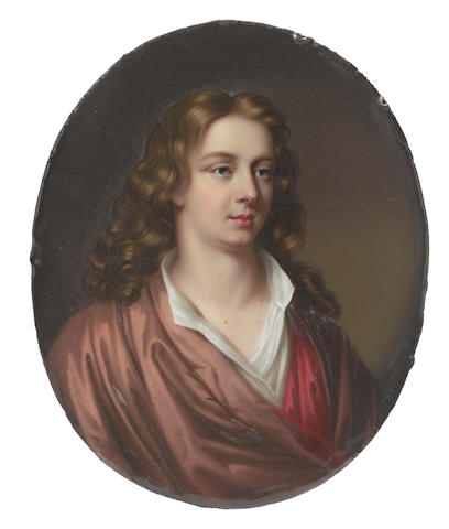 Henry Pierce Bone (British, 1779-1855) after Mary Beale (British, 1633-1699) Abraham Cowley (1618-1667), wearing brown cloak with crimson lining and white chemise, his natural wavy locks worn to his shoulders