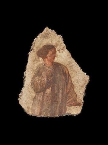 A Roman polychrome fresco fragment