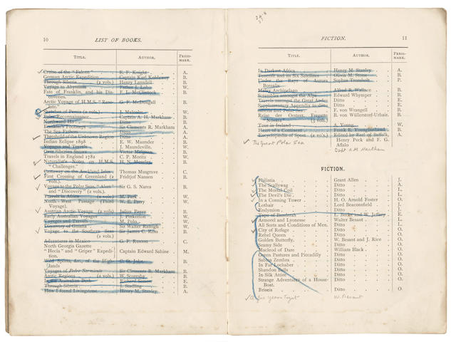 "DISCOVERY [Catalogue of Books of the ""Discovery"", 1901], CHARLES ROYDS' ANNOTATED COPY, 1901"