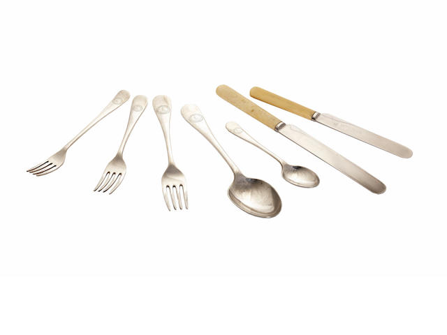 TERRA NOVA A collection of flatware from the Terra Nova, comprising three forks (one table, two types of dessert), two spoons (one table, one tea); and 2 knives (7)