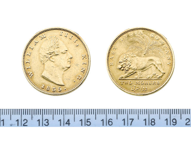 India, East India Company, William IV, Gold Restrike Two Mohurs, 1835, 23.21g, bare head right,