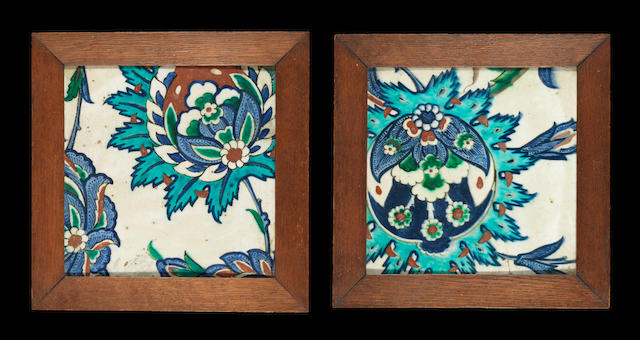 Two Iznik polychrome pottery Tiles Turkey, circa 1590