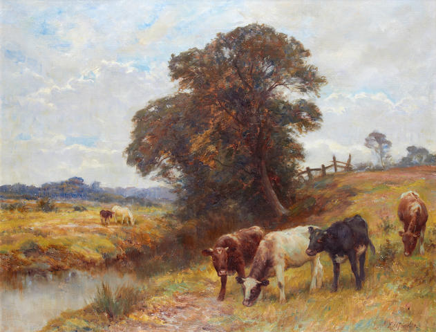 Frederick Stewart Knowles, oil, cows in a pasture