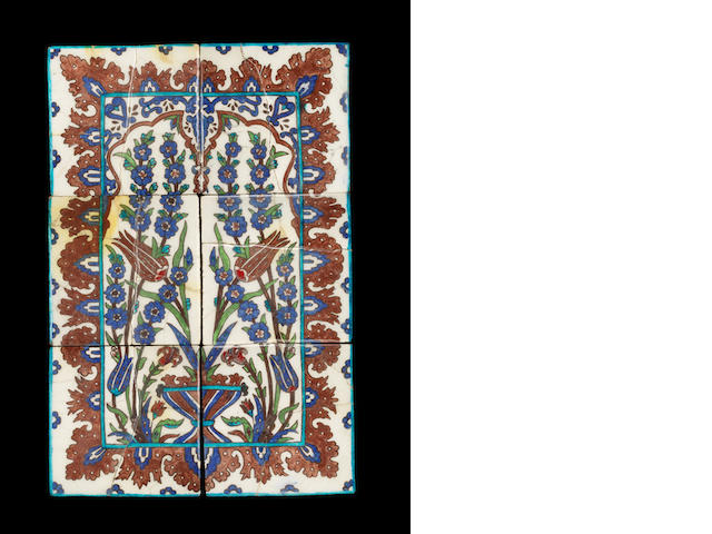 Iznik tile panel, interior with tulips in vase