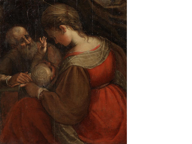 Circle of Ferrau Fenzoni (Faenza 1562-1645 Rome) The Holy Family unframed
