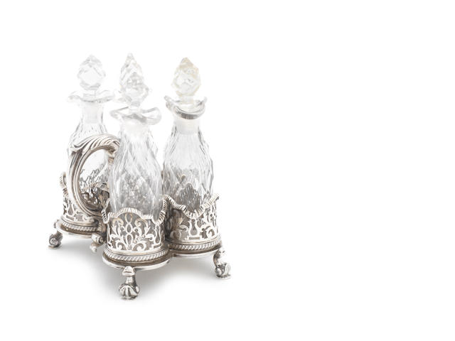 An early Victorian silver five-bottle cruet frame,  by Robert Garrard, London 1850,